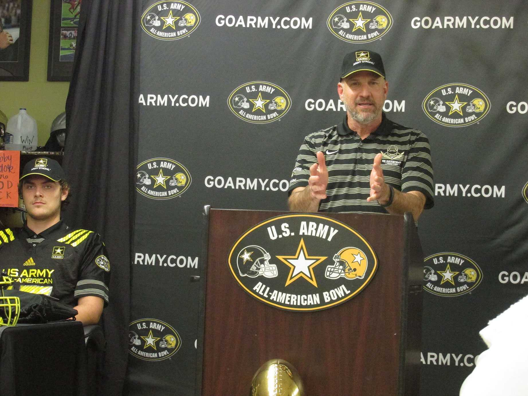 During his speech Coach Robert Weiner spoke highly of Jake Fruhmorgen. Fruhmorgen was selected to play in the U.S Army All-American Bowl