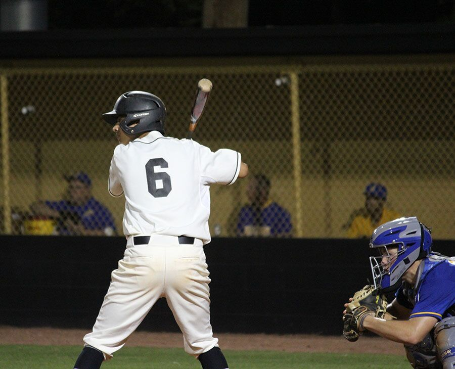 Stepping up to the plate, junior JD Urso prepares for a clean swing to take the home team ahead of Jefferson. Jefferson won the game with a score of 3-2 on Feb. 27.
