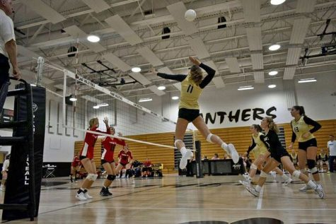 Playing two positions, junior Erin Morrissey spikes the ball at home Wednesday, Aug. 15. The varsity volleyball team lead the second set 25-20.