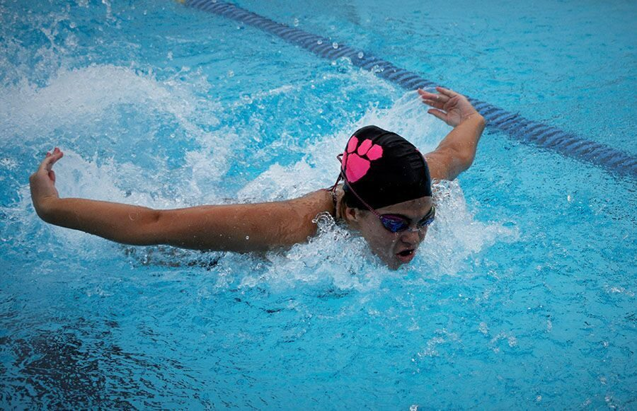 Swimming since she was four years old, sophomore Morgan Austrich plans to continue throughout college. Swimming has helped manage her time and stay motivated in school.