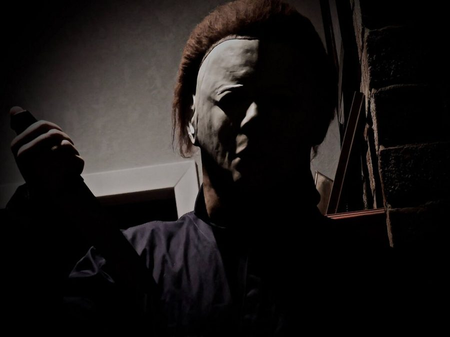 Standing over his next victim, Myers holds a knife and is ready to strike. He looked down on them with a frightening mask over his face on Halloween night of 1978.
