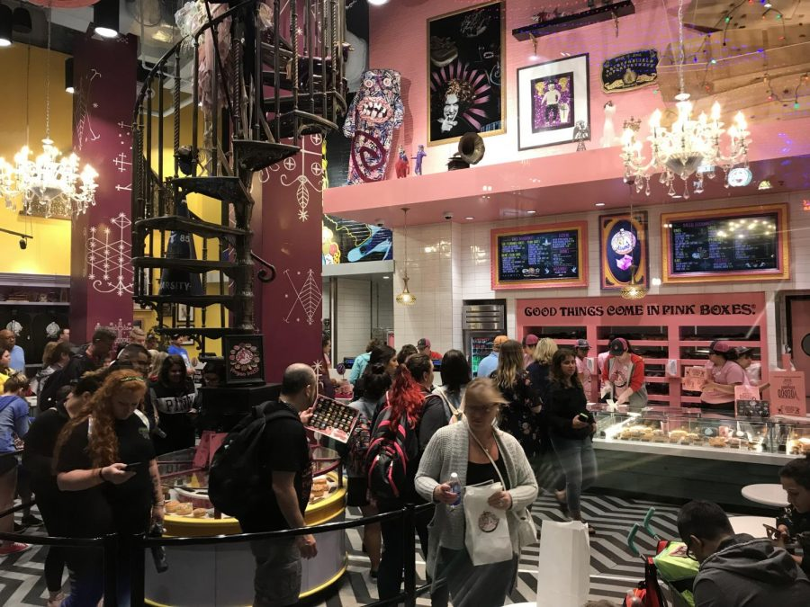 Voodoo+Doughnut%27s+interior+has+vibrant+designs+which+take+inspiration+from+the+voodoo+culture+that+originated+in+Haiti.+The+line+to+enter+continued+outside+and+the+wait+was+well+over+30+minutes%2C+but+the+doughnuts+were+worth+it.+