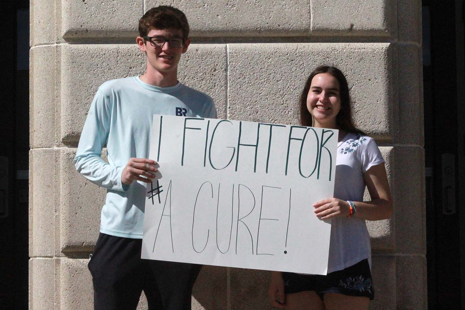 """In a joint effort, Trey Carlson and Preslie Price fight for a """"Cure"""" to cancer. The pair got involved in this mission together during an internship doing special projects for the National Pediatric Cancer Foundation."""