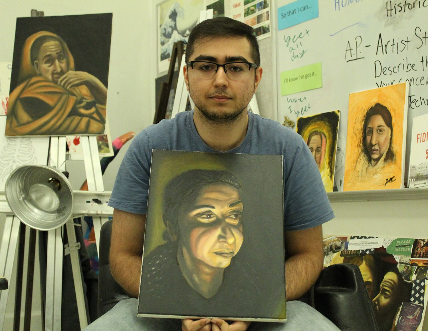 "In this year's Scholastic Art and Writing Awards, senior Zain Khan received a Gold Key for his painting entitled ""Mom"".  Khan drew influence from baroque artist Caravaggio by focusing on the lighting technique utilized in his work."