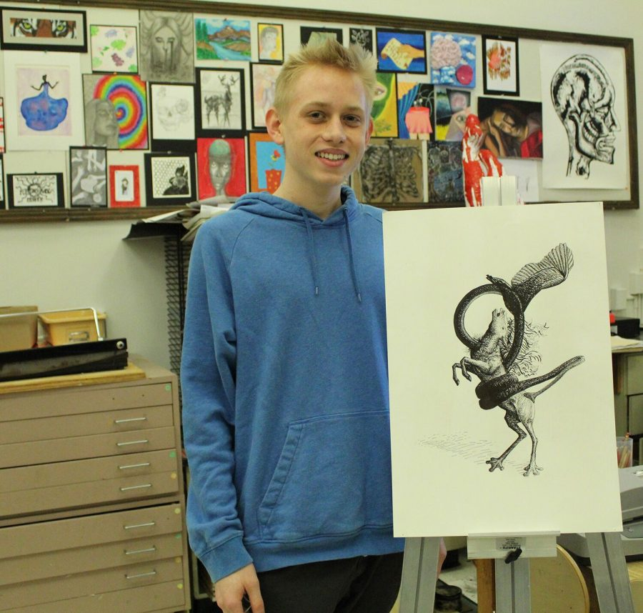 "Depicting four animals morphed together, senior Adam Jones' piece ""Constricted"" receives a Gold Key Scholastic Art and Writing Award under the category of drawing and illustration. This was Jones' second year participating in the Scholastic Art and Writing Awards."
