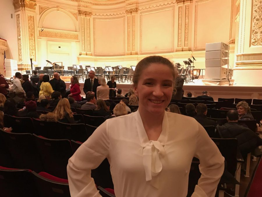 Setting+the+Stage.+Performing+at+Carnegie+Hall+for+the+bass+instrument+at+a+national+level+orchestra%2C+senior+Alyssa+Nagle+takes+the+stage.+This+event+ran+Feb.+7-11.+
