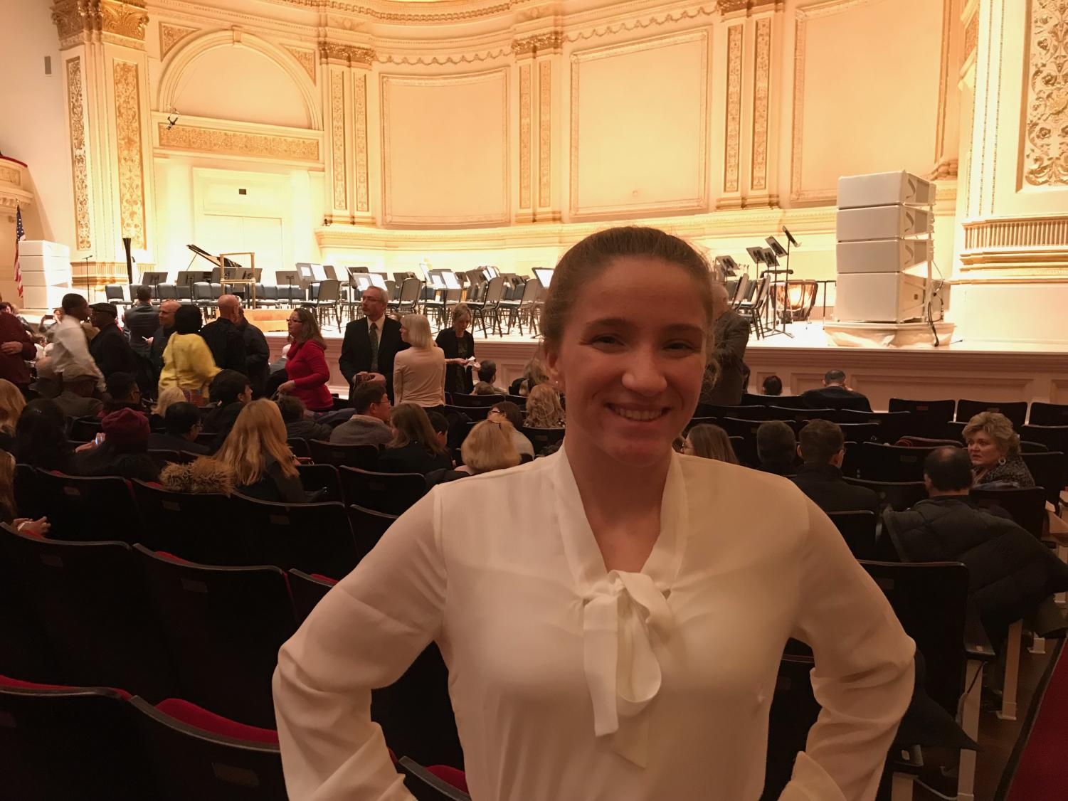 Setting the Stage. Performing at Carnegie Hall for the bass instrument at a national level orchestra, senior Alyssa Nagle takes the stage. This event ran Feb. 7-11.