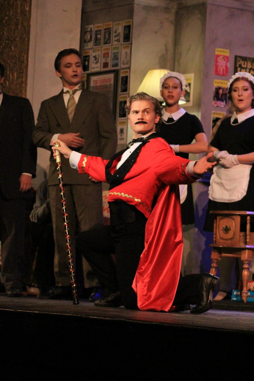 Striking+a+pose%2C+senior+Nathan+Patterson+introduces+his+character%2C+%E2%80%9CAldopho%E2%80%9D+in+the+Plant+Theater+Company+production+of+the+Drowsy+Chaperone.+This+was+Patterson%E2%80%99s+first+and+only+show+of+his+high+school+career.+