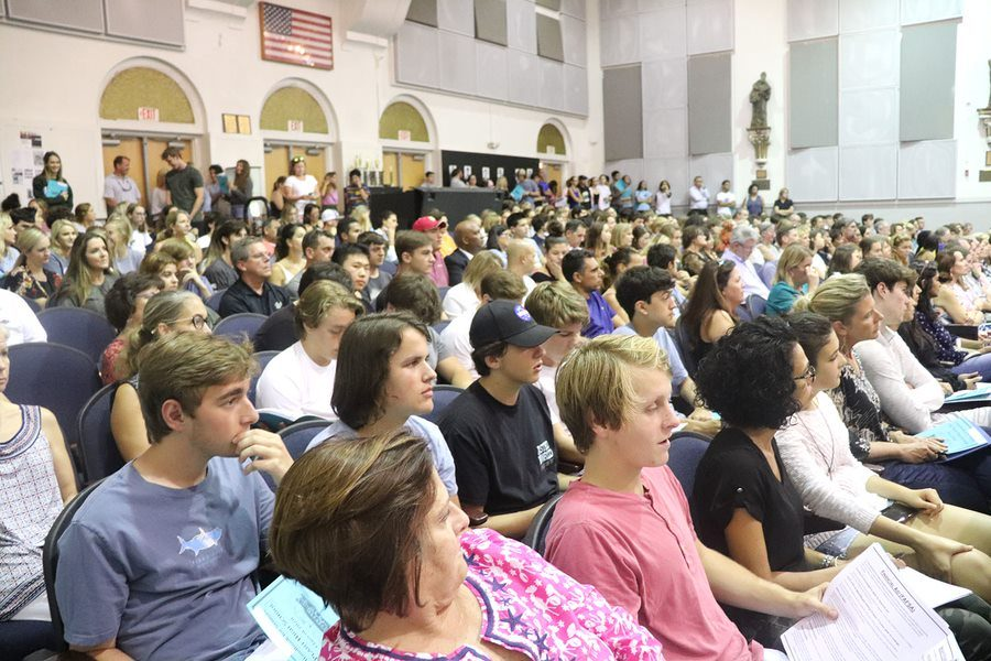 Parents and seniors listen as Plant's college counselors and representatives of several Florida colleges speak at senior night on August 23. The event is hosted annually to supply seniors with information about the college application process.