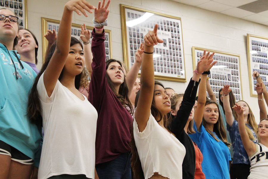 In preparation for the fall concert, members of the junior varsity chorus learn new choreography for their song, Sept. 19 in the chorus room. The concert will be held on Thursday, Sept. 26 in the auditorium, beginning at 6:30 p.m.