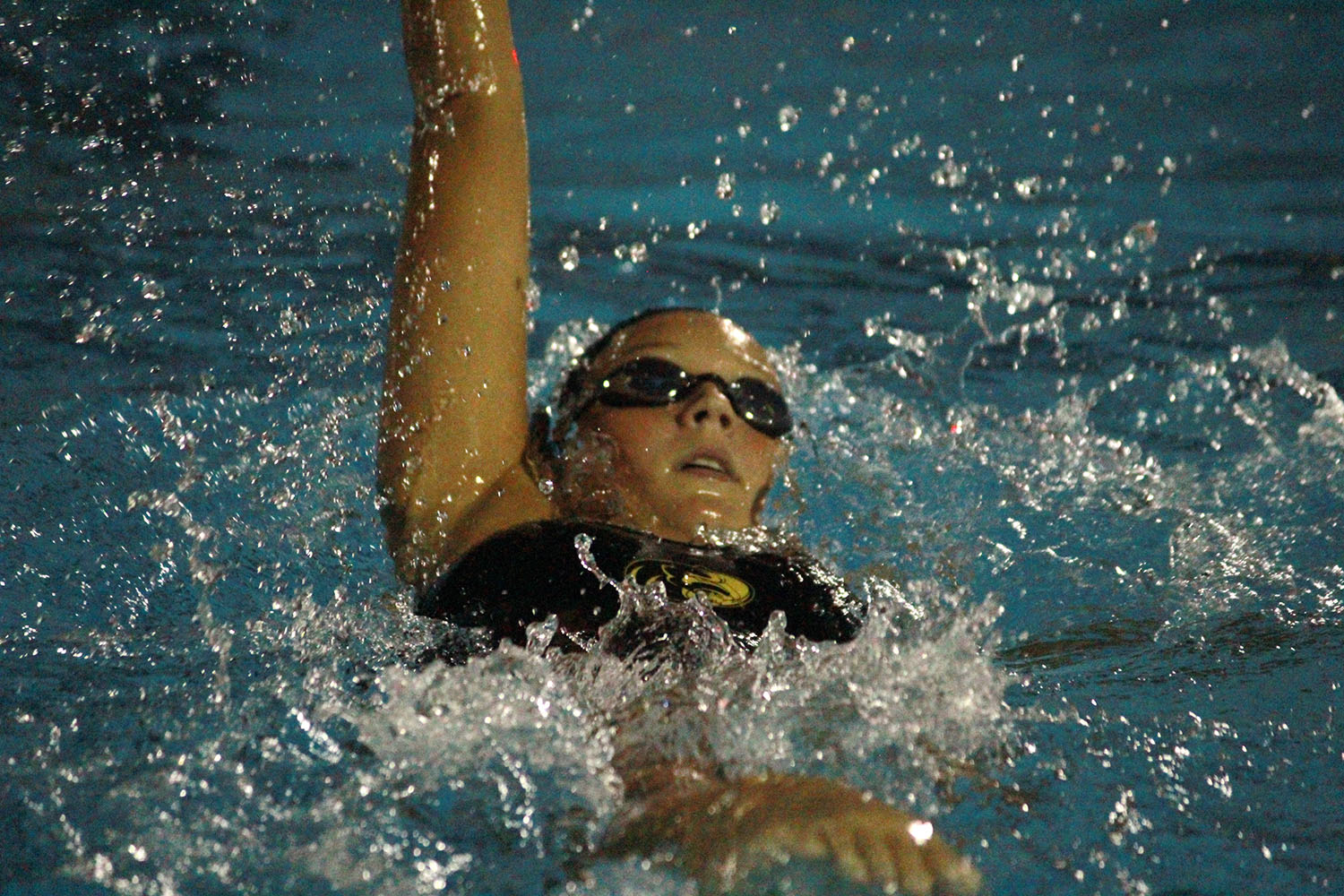 +Swimming+backstroke%2C+junior+Bruna+Custodio+races+to+the+end+of+the+pool+September+5+at+Bobby+Hicks+pool.+The+Plant+swim+team+defeated+Sickles+High+school+at+their+second+swim+meet+of+the+year.+