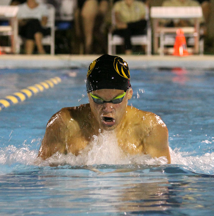 Coming+up+for+air%2C+sophomore+Ivan+Kolesnikov+swims+breaststroke+at+Bobby+Hick%E2%80%99s+pool+September+5.+The+Plant+varsity+swim+team+beat+Sickles+High+School+in+their+second+meet+of+the+season.++
