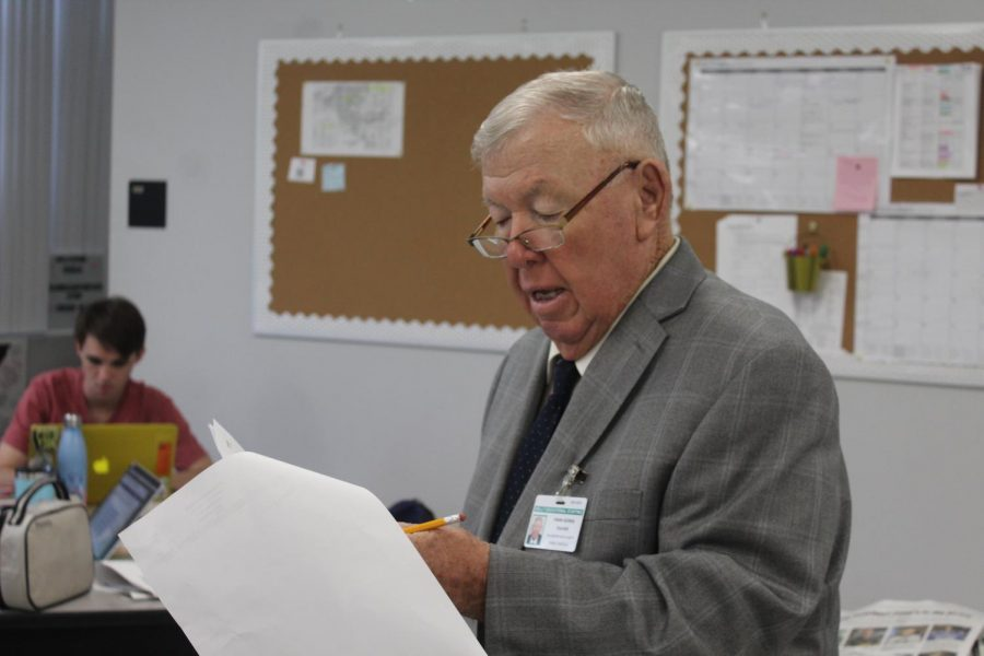Calling out names, Frank George takes attendance. George began working as a substitute since 2000, and usually comes in two to three times a week.