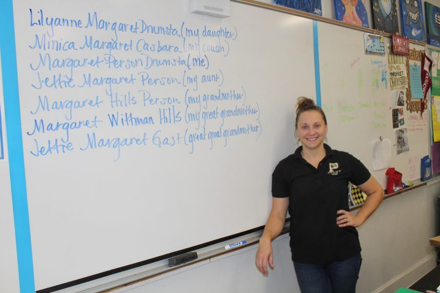Standing in front of a pedigree displaying her family tree, AP Environmental Science teacher Margeret Drumsta shows a naming tradition in her family. Her family has been passing the name Margeret through their daughters for many generations.