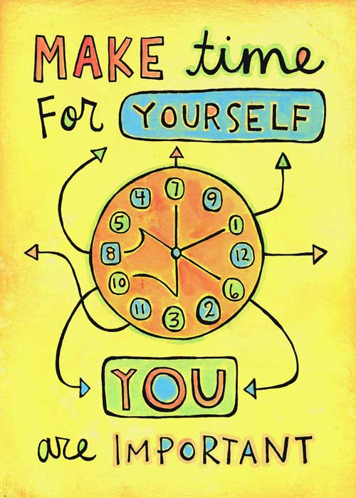 Depicting a series of arrows to represent how one way of self-care is making time for yourself, the image emphasizes time management as a method of self-care. Time management leaves more time to relax and focus on things that make the individual happy.