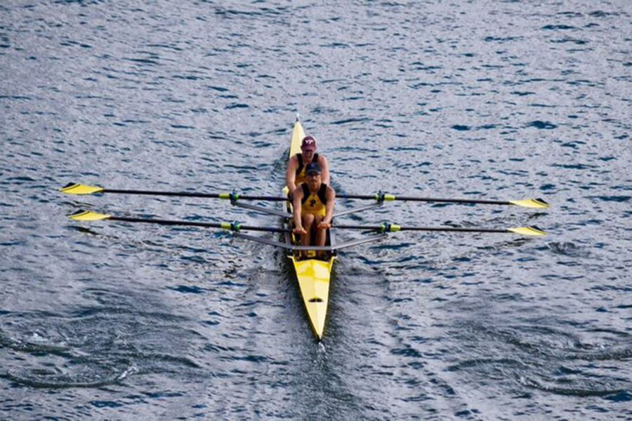 Rowing in a double boat, junior William Hubbard participates in the Head of the South regatta. Hubbard has been a member of the Plant crew team since his freshman year and hopes to continue rowing into college.