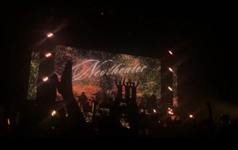 To conclude the show, the band bows with the screen behind them displaying fireworks and the title of their album. Throughout the show the band used the screen to display scenes or visuals that coincided with the emotions of the songs.
