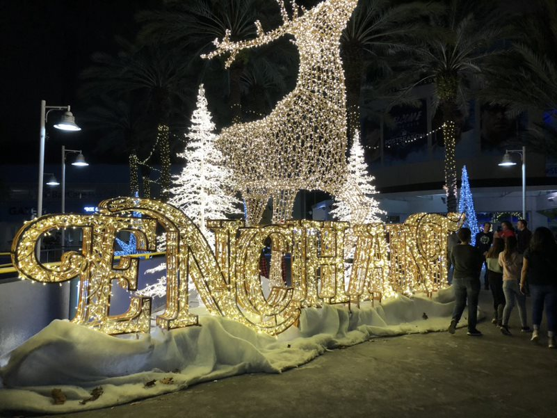 The entrance to Enchant lights up Tropicana Field with a giant reindeer. The event had an ice-skating rink, food, games and more.