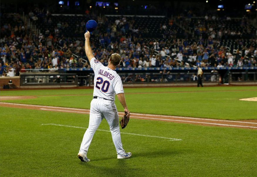 Pete Alonso walks onto the field and raises his hat to a crowd of 32,210 after hitting his record-breaking 53rd home run of the year at Citi Field, Saturday, Sep 28, 2019. Alonso's 53 homeruns were the most ever hit by a rookie. Photo courtesy of MLB.com.