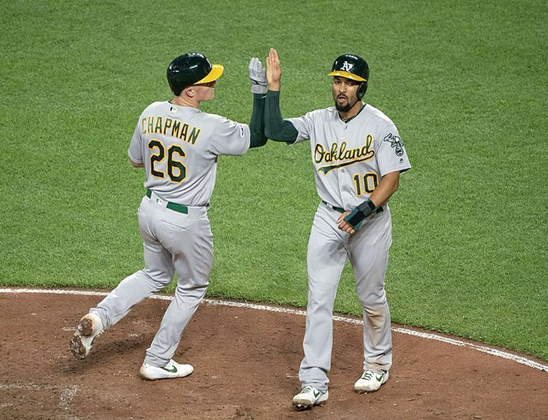 Matt Chapman (left) high fives Marcus Semien (right) as he crosses home plate in a game against the Baltimore Orioles at Oriole Park at Camden Yards, Apr. 10, 2019. The Athletics have won 97 games in two straight years.