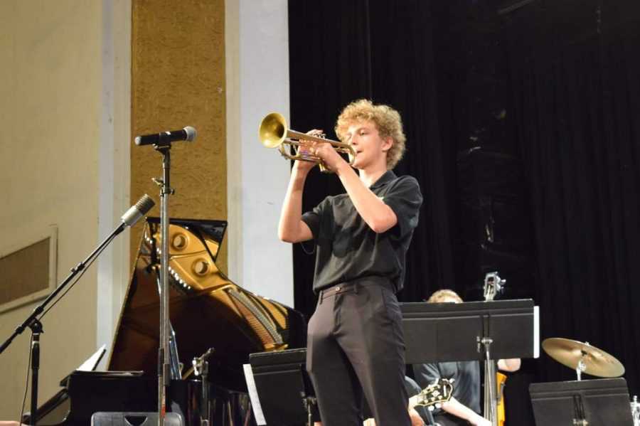 Trumpet in hand, freshman Jack Bricklemyer performs. The concert was held before the jazz band's Music Performance Assessment, known as MPA, where the band was judged on a scale of poor to superior.