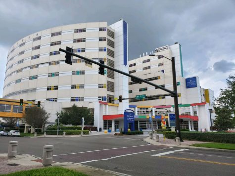 Against a backdrop of clouds, Johns Hopkins All Children's Hospital stands in downtown St. Petersburg. Perno has been working with the hospital since July 2003.