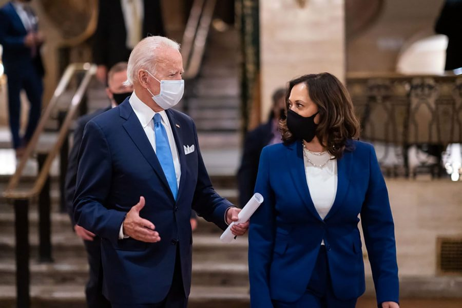 At+a+campaign+event+held+in+August%2C+former+Vice+President+Joe+Biden+and+California+Senator+Kamala+Harris+have+a+conversation.+Biden+and+Harris+were+projected+as+the+winners+of+the+2020+presidential+election+on+Saturday%2C+Nov.+7.++