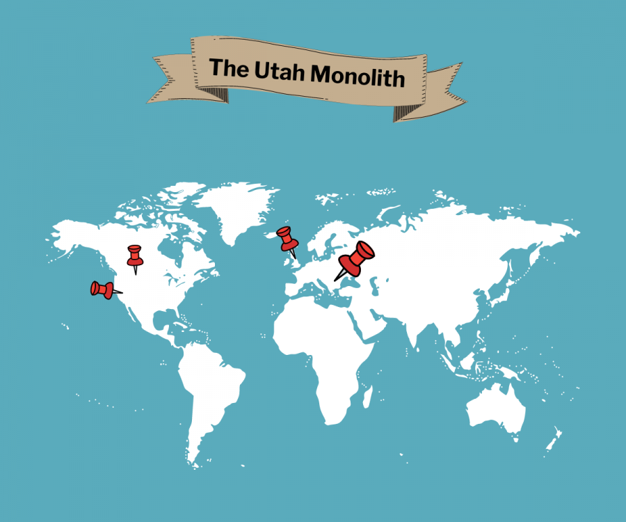 The+Utah+Monolith%2C+a+three-sided%2C+metal+structure+seven+and+a+half+feet+high%2C+was+originally+found+in+Utah+in+November.+It+moved+to+Romania%2C+then+Calif.%2C+and+then+to+Britain.+Its+origins+and+purposes+are+still+not+truly+known.