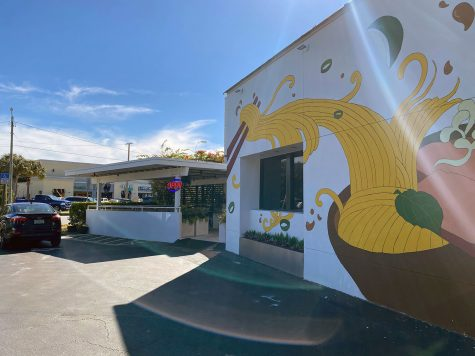 Picturing noodles flowing out of a bowl, restaurant Pho 813 showcases a pho mural outside Henderson. The restaurant offers a variety of Vietnamese food with a classy-casual atmosphere.
