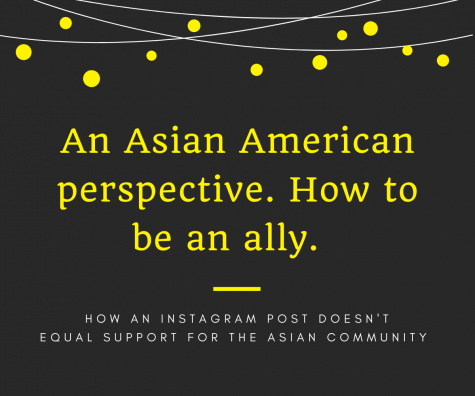 Showing an explanation for the main topic of the article, the graphic explains that an Instagram post doesn't equate to showing actual support for the Asian American community. With the recent attacks, microaggressions have become even more important to avoid and listening to those affected is the best way to know what to do to help.