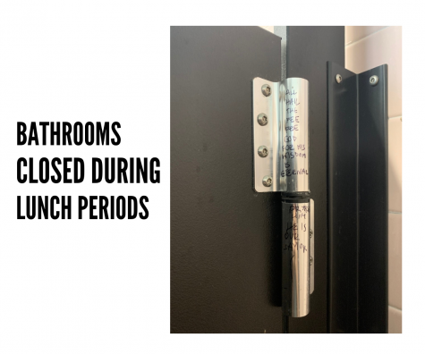 Due to vandalism and eating in the bathroom, bathrooms will be closed with the exception of the main hall bathroom during lunch periods.