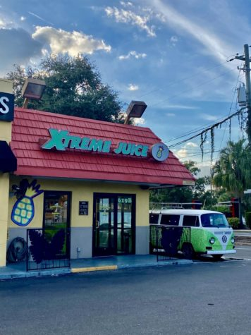 A green van sits in front of Xtreme Juice on South Dale Mabry. Many customers a day walk through the doors to pick up a delicious smoothie.
