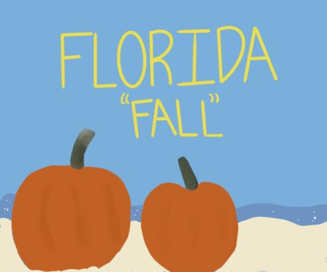 Illustrated pumpkins contrast with a beach background. Despite what many might wish, Fall in Florida usually feels more like an extension of summer.